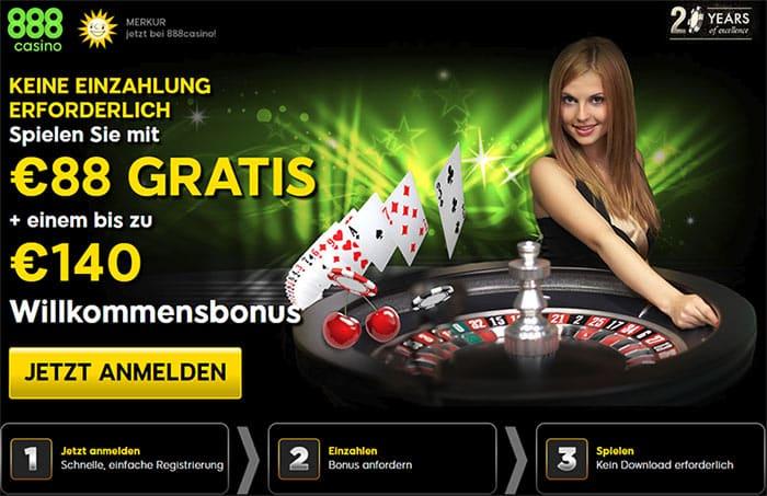 888 Casino Bonus 88€ und 140€