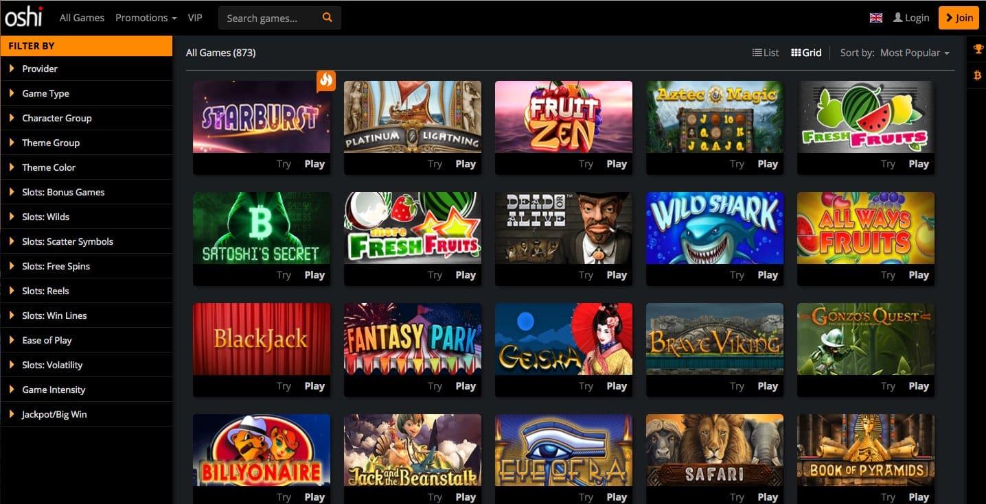 Oshi Casino Spieleangebot: Beliebte Slots & Casinospiele