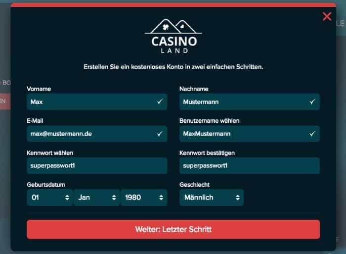 casinoland_register