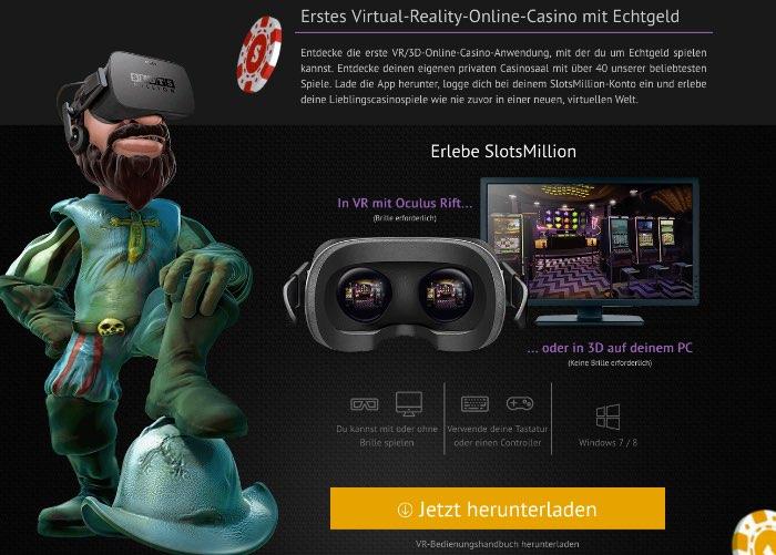 Virtual Reality im SlotsMillion Live Casino