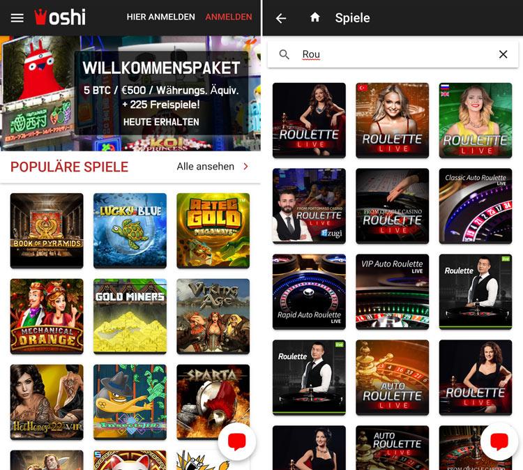 Die Oshi Casino Web-App lädt zum mobilen Spielen ein