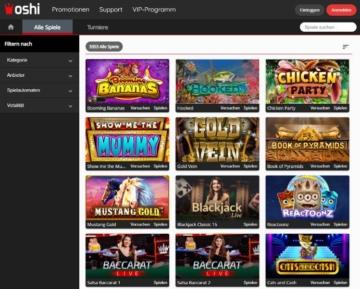 Oshi Casino Spieleangebot