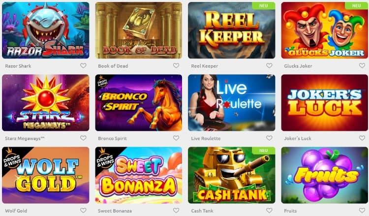 Cadoola Casino Spieleauswahl