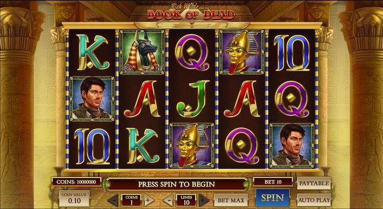 Book of Dead Slot Startbildschirm