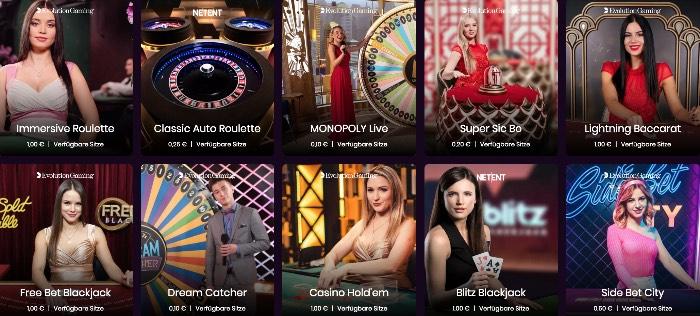 Boom Casino Live Dealer: große Auswahl an Tischen