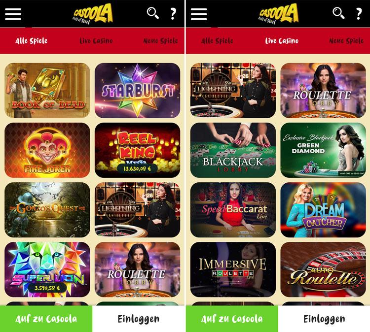 Casoola Casino App: Dank Web-App problemlos unterwegs nutzbar