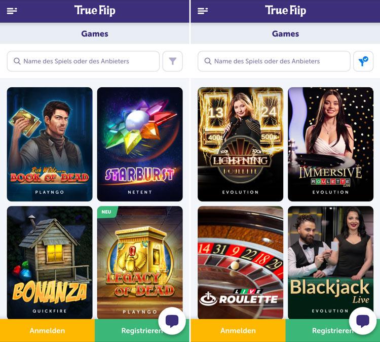 Die TrueFlip Casino Web-App funktionier auf allen Geräten