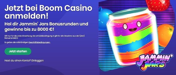 Boom Casino Bonus Erfahrungen und Test: 500€oder Bonusrunden Jasmin' Jars
