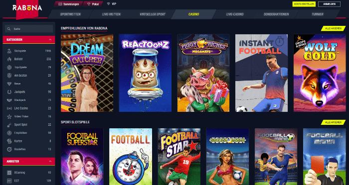Riesige Rabona Casino Spieleauswahl mit renommierten Herstellern