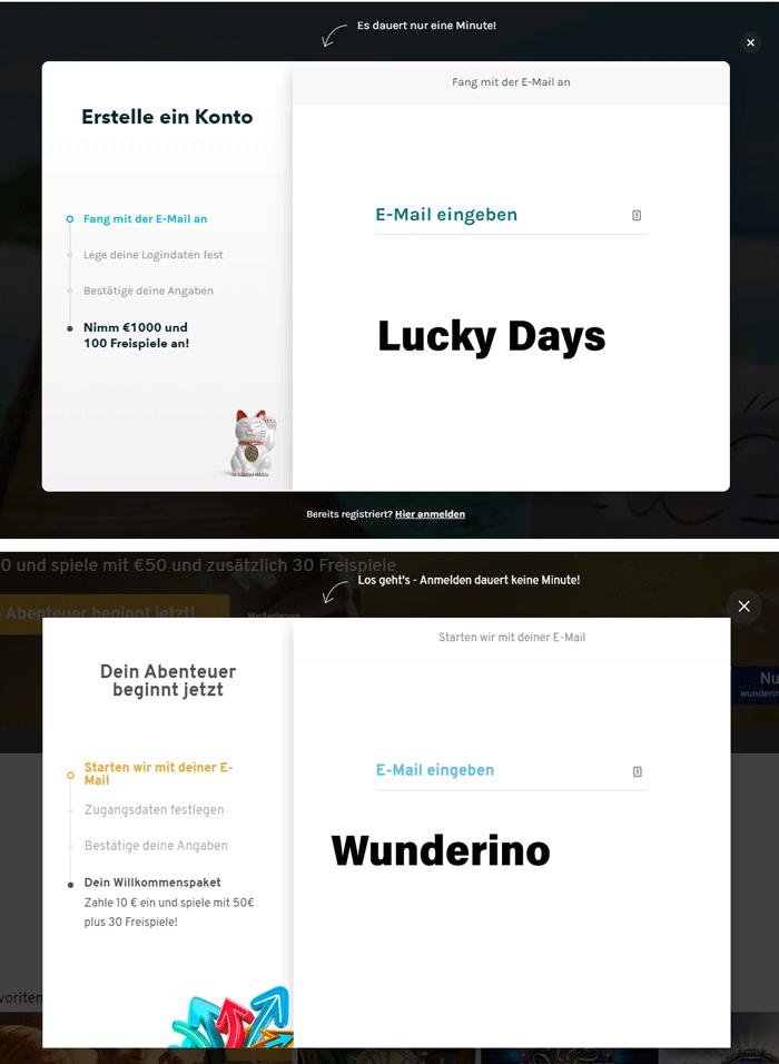 Regisrierungsformulare Wunderino und Lucky Days