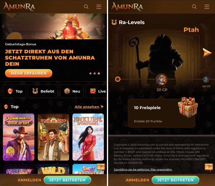 AmunRa Casino App