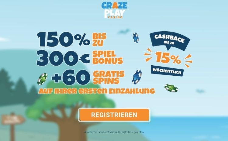 CrazePlay Casino Erfahrungen: Für die erste Einzahlung gibt es exklusiv 150% bis 300€ + 60 Bonus Spins