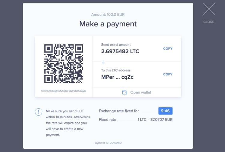Litecoin Einzahlung Abschluss