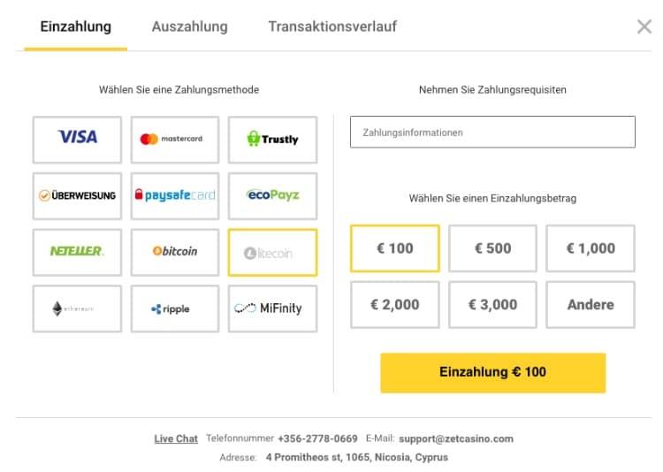 Litecoin Einzahlung