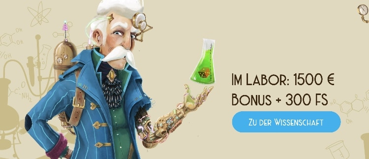Der Willkommensbonus im Casino Lab beträgt 1.500€+ 300 Freispiele