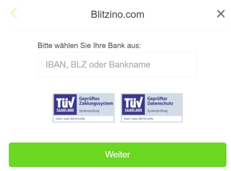Blitzino Trustly Einzahlung