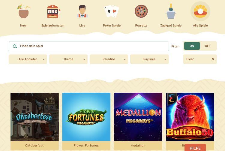 Paradise Casino Spieleangebot