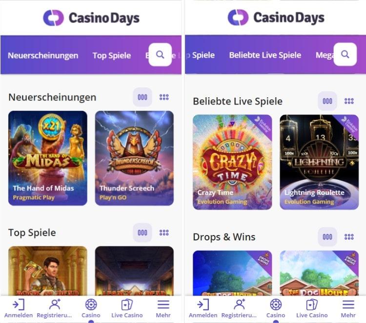 Casino Days mobil