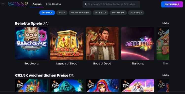 Winny Casino Spiele