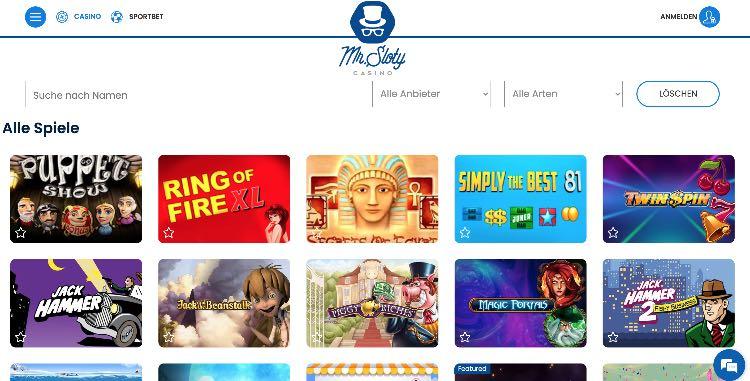 Mr Sloty Casino Webseite