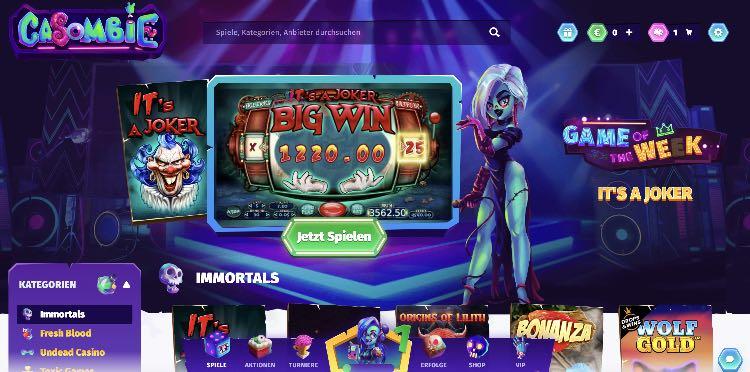 Casombie Casino Webseite