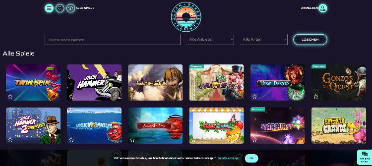 Ocean Breeze Casino Webseite