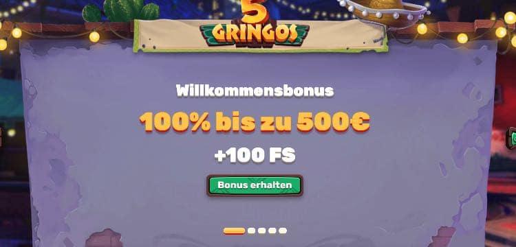 5Gringos Casino Willkommensbonus