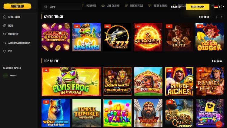 Fight Club Casino Webseite