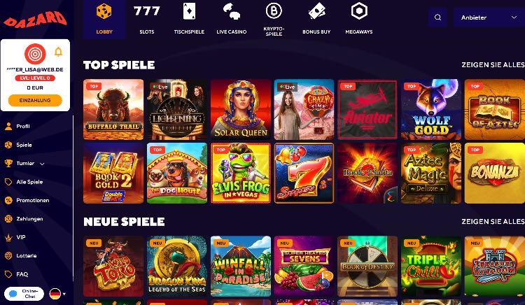 Dazard Casino Webseite
